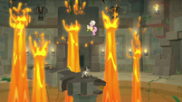 Fluttershy overwhelmed by lava geysers S9E21