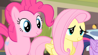Pinkie Pie and Fluttershy listening to Rarity S4E08