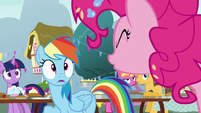 Pinkie Pie yells -no!- at Rainbow Dash S7E23