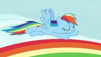 Rainbow Dash flying over a rainbow S7E14
