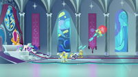 Royal guards blasting Cozy with lasers S9E24