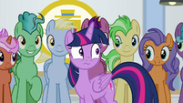 Twilight Sparkle surrounded by ponies S8E16