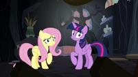 Twilight and Fluttershy hear a loud creak S7E20