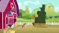 Apple Bloom jumps off stack of cookie boxes S6E15