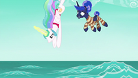 Celestia and Luna diving into the ocean S9E13