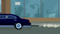 Limousine driving away from the curb CYOE5a
