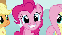 Pinkie Pie grinning at the Young Six S8E2