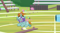 Snips with confetti on his face S9E15