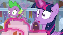 Twilight and Spike in wide-eyed shock S9E3