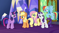 Twilight and friends amused by Pinkie's excitement S7E11