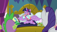 Twilight blows her nose on Rarity's dress S8E2