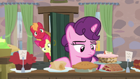 Big Mac and Apple Bloom sneak into Sugar Belle's house S7E8