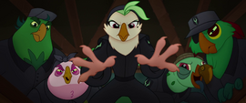 Celaeno and parrots about to grab the ponies MLPTM