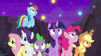 Mane Seven looking at wisps of magic S8E26
