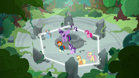 Mane Six and friends in a hexagonal spell circle S7E25
