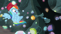 Rainbow Dash finds a lever on a wall S8E17