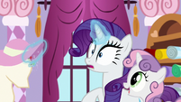 Sweetie Belle appears behind Rarity S8E12
