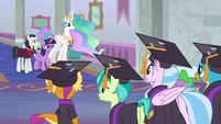 Twilight, Celestia, and Neighsay look at Young Six S8E26