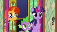 Twilight, Spike, and Sunburst enter the throne room S8E8