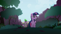 Twilight and Spike walking through the Everfree Forest S4E03