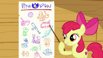 Apple Bloom pointing at the cutie mark chart S6E19