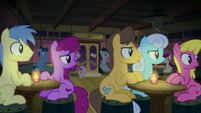 Audience members look over at Pinkie Pie S8E3