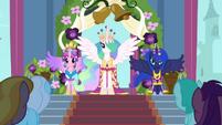 Celestia, Luna, and Cadance in coronation attire S03E13