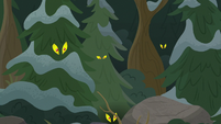 Creatures spy Chrysalis from the trees S9E8