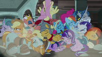 Mane Six and Pillars in a collapsed pony pile S7E26