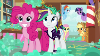Pinkie and Rarity look at mess in Sugarcube Corner S7E19