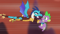 Princess Ember saves Spike from falling S6E5