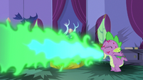 Spike breathing more fire in his bedroom S8E11