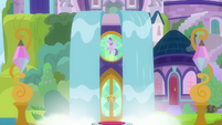 Waterfall parting to reveal school entrance S8E1