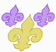 Three fleurs-de-lis, two small lavender and one large gold