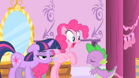 Pinkie Pie's reaction to Spike's crush on Rarity S1E20