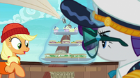 Rarity levitates her food tray off the table S6E22