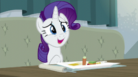 Rarity tries to be polite about the food S6E12