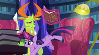 Twilight Sparkle jumps out of her comfy chair S7E15