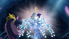 Twilight looking at Celestia and Luna with the Elements of Harmony S4E02.png