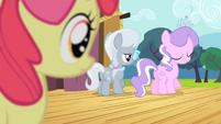 Apple Bloom sees Diamond Tiara and Silver Spoon walking away S4E05