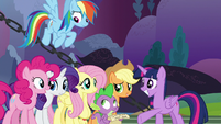 Mane Six with varying levels of confidence S9E13