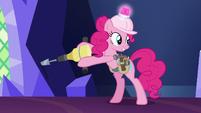 Pinkie Pie holding a jackhammer S8E1