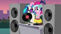 Pinkie Pie pulling up DJ Pon-3 S2E26