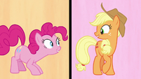 Pinkie and Applejack look at each other S7E14