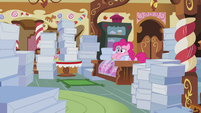 Pinkie sad and surrounded by cake boxes S5E7