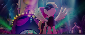 Songbird Serenade standing on stage MLPTM