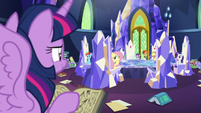 Twilight's friends look at her from the Cutie Map S7E25