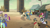 Dr. Caballeron and henchponies about to leave Somnambula S7E18