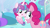 Flurry Heart latched onto Pinkie's eyeball S6E1