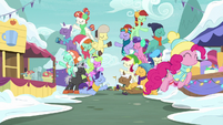 Pinkie Pie appears through crown of ponies MLPBGE